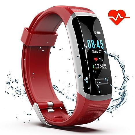 Fitness Tracker HR, S1 reloj de fitness con monitor de ritmo ...
