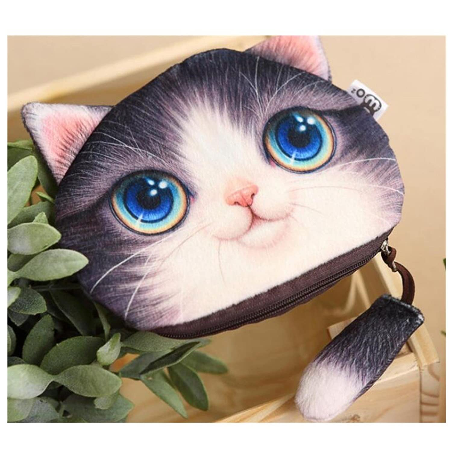 "Aksautoparts ""Cat Wallet Zipper Clutch Bag Multifunctional Plush Purse """