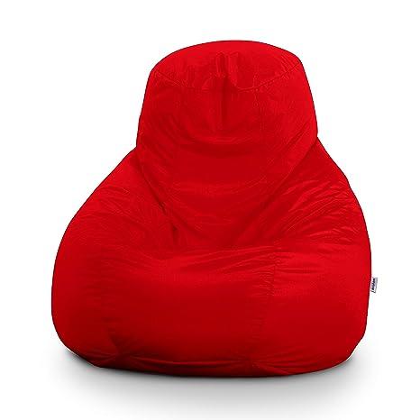Avalon Pouf Poltrona Sacco Gigante Bag XXL Jive 100x100x110cm Made in Italy  in Tessuto antistrappo Imbottito Colore Rosso