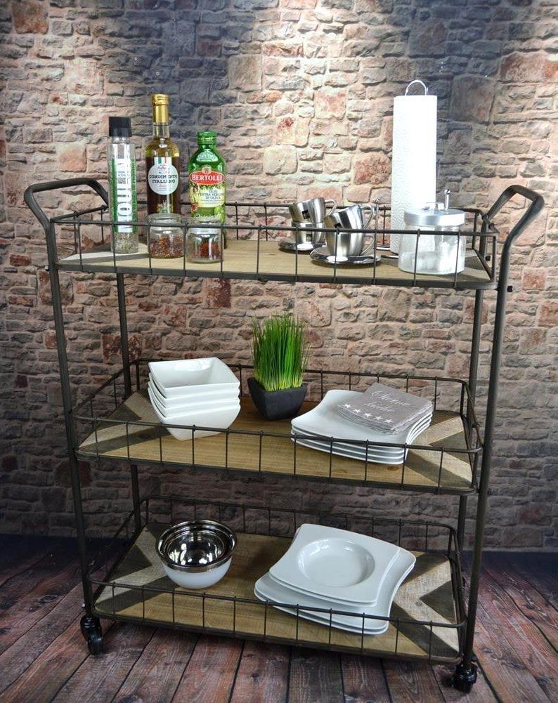 Livitat® Küchenwagen Servierwagen Teewagen Industrial Loft Metall Vintage Retro Holz LV5045