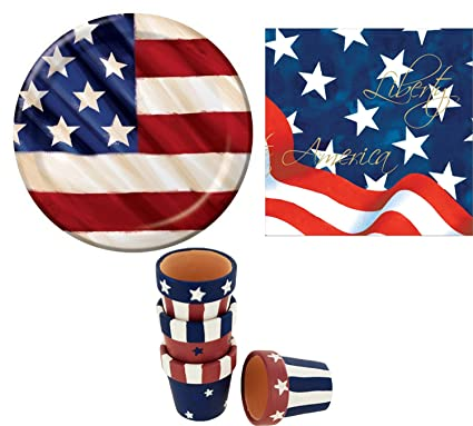 Rustic 4th Of July Veteranu0027s Day Memorial Day USA American Flag Lunch Plates  sc 1 st  Amazon.com & Amazon.com: Rustic 4th Of July Veteranu0027s Day Memorial Day USA ...