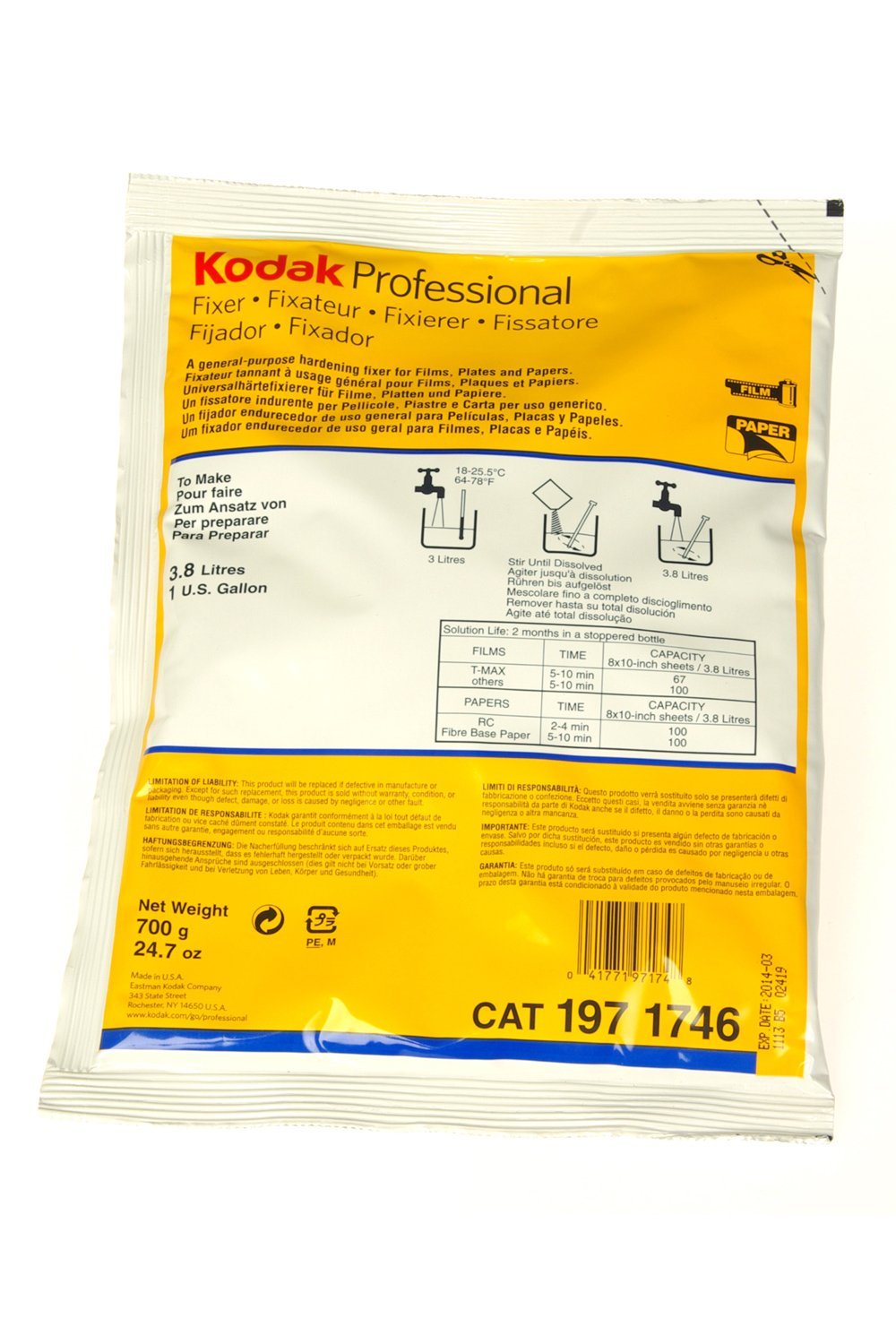 Fixer for Paper and Film, 1Gallon Mix by Kodak