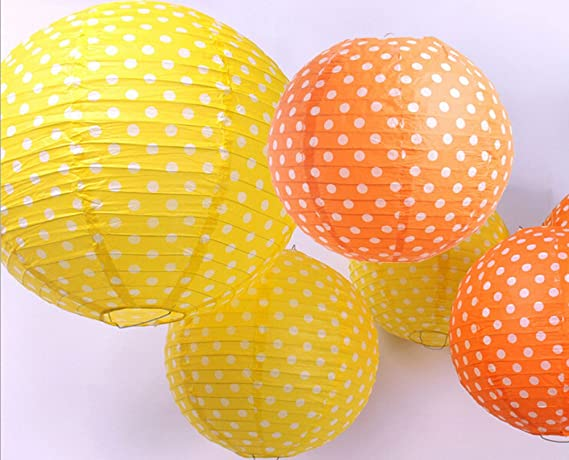 Set de 6 Mixed Color Naranja Y Amarillo lunares Ronda ...