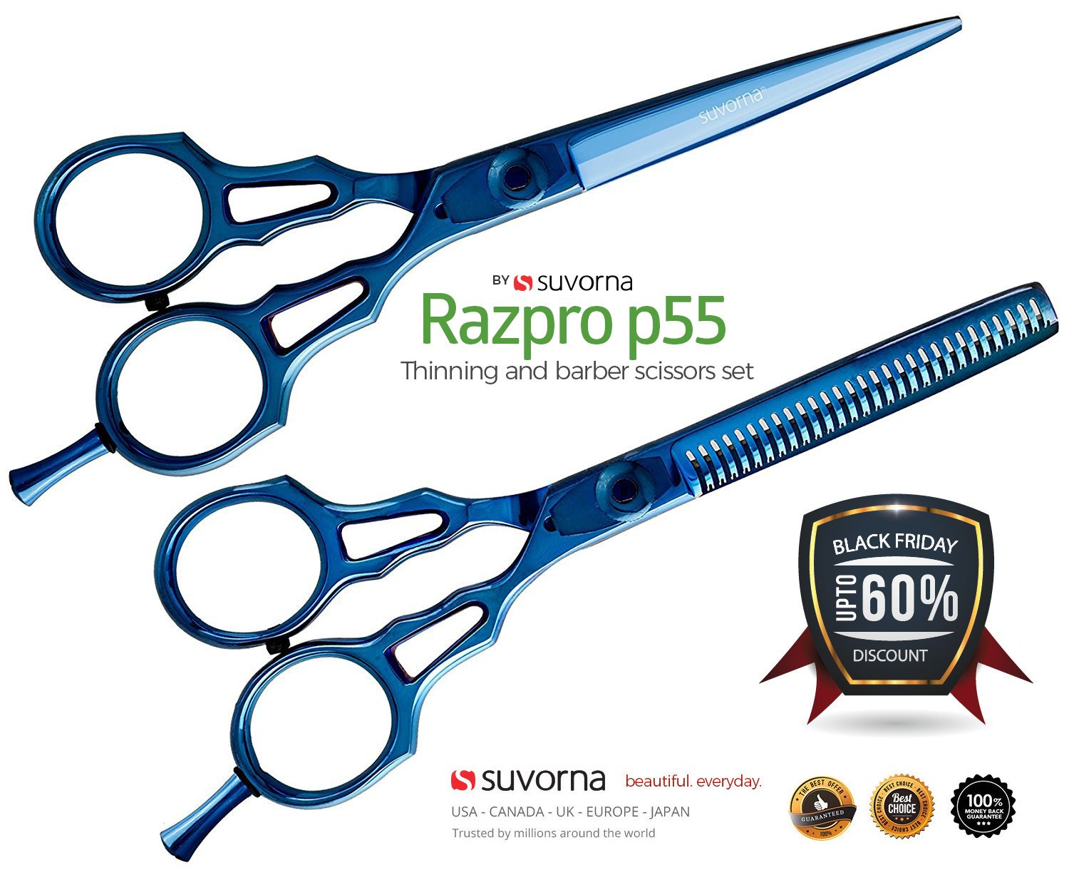 Suvorna Professional Barber Blue Titanium Razor Edge Hair Cutting and Texturizing Scissors Set Razpro P55, Blue, 16 Ounce by Suvorna
