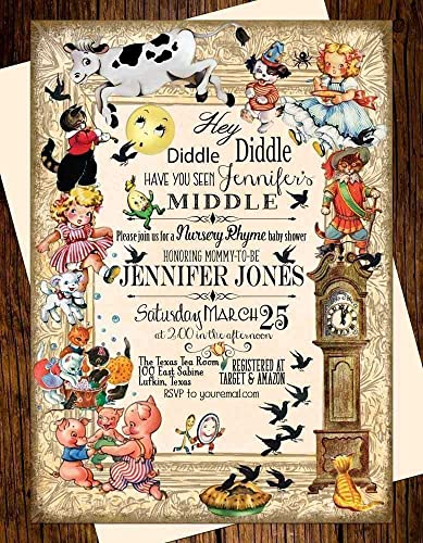 Amazoncom Hey Diddle Diddle Nursery Rhyme Baby Shower Invitations