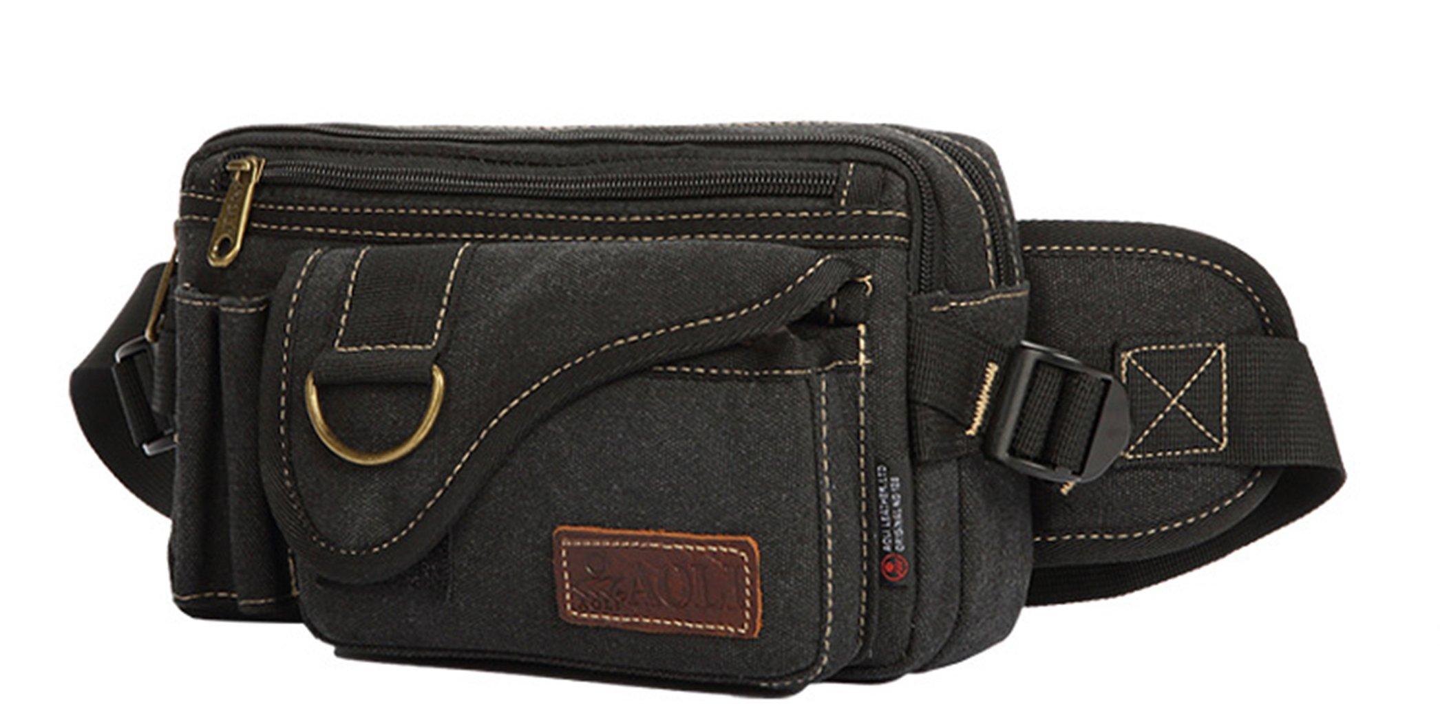 JiaYou Unisex Sports Waist Bag Fanny Hip Pack Bum Bag(Black A,3L)