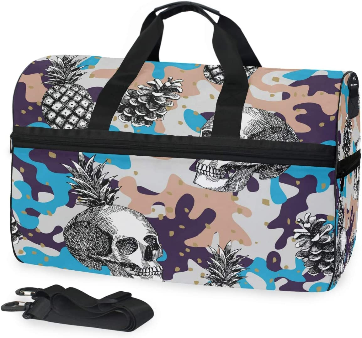 Skull Pineapple Camo Military Camouflage Sports Gym Bag with Shoes Compartment Travel Duffel Bag for Men and Women