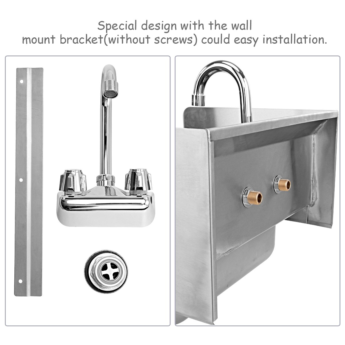 Giantex Stainless Steel Hand Washing Sink with Wall Mount Faucet & Side Splashes NSF Commercial Kitchen Heavy Duty Hot & Cold Temperature Water Inlet Washing Basin, Silver by Giantex (Image #5)