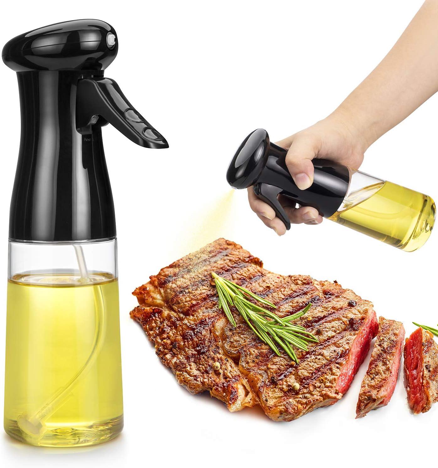 Oil Sprayer for Cooking, Food Grade Olive Oil Spray BPA Free, 210ml Oil Spray Bottle, Olive Oil Sprayer Mister for Cooking, Salad, BBQ, Backing, Roasting, Frying, Kitchen (Black)
