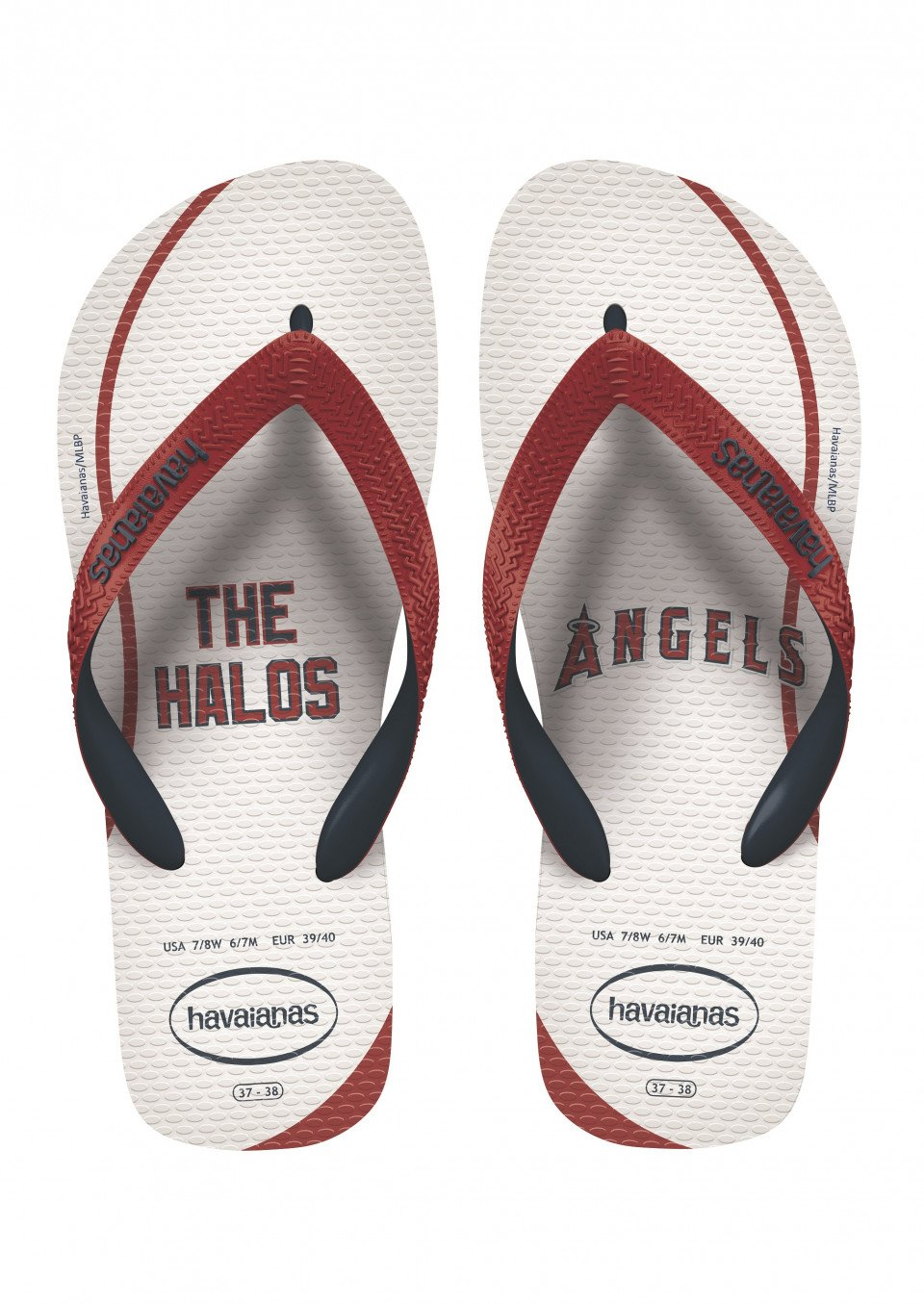 Havaianas Unisex Top MLB Los Angeles Angels Sandal (41/42 BR (9/10 M US), White/Red Ruby)