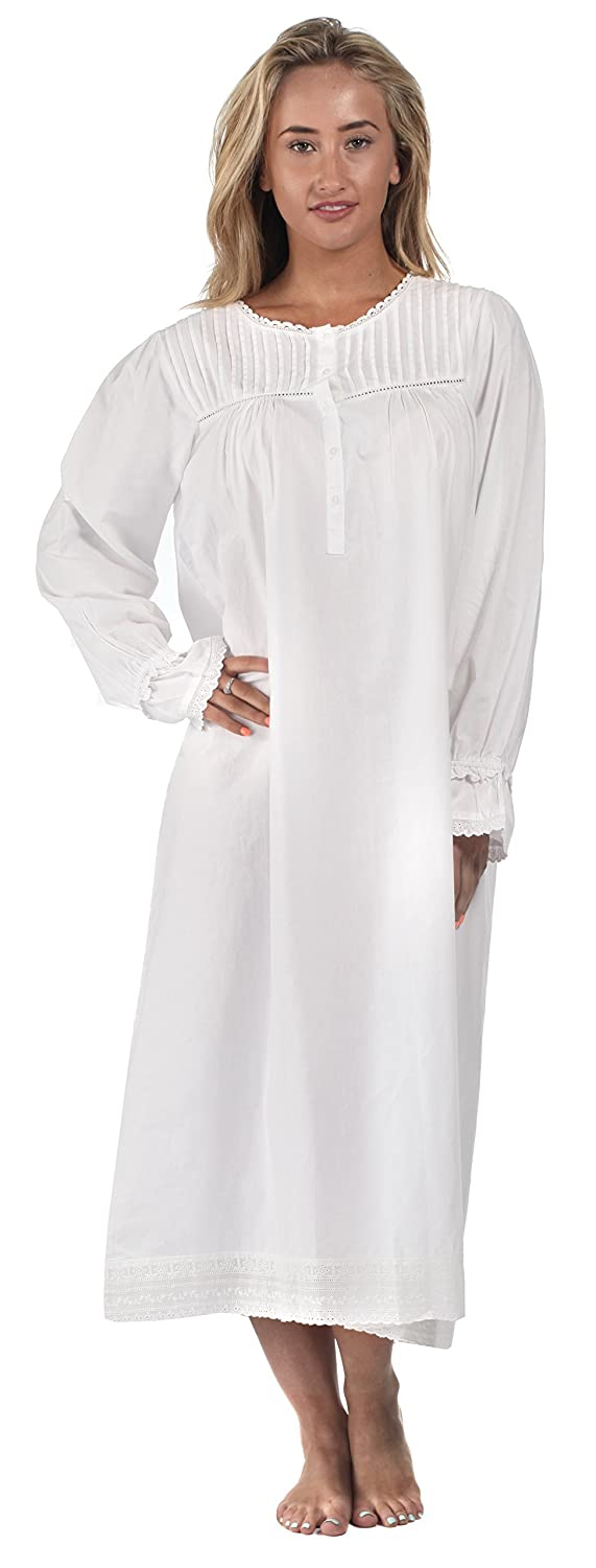 The 1 for U Cotton Long Sleeve Vintage Design Nightgown - Bettie ...