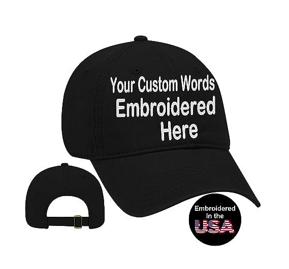 565358687ba Custom Text Embroidered Dad Hat. Unstructured Adjustable Metal Buckle (Black  Dad Hat)
