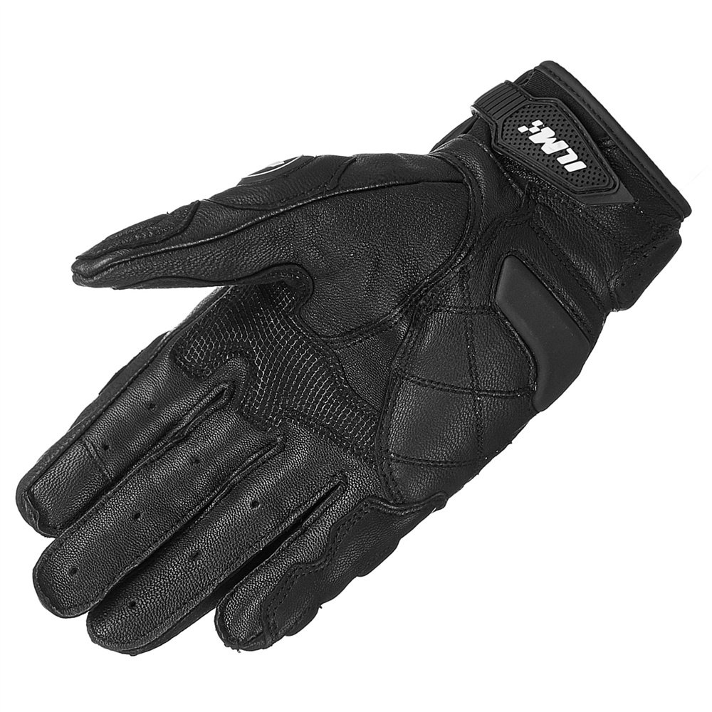 XXL, BLACK-LONG ILM Air Flow Leather Motorcycle Gloves For Men and Women