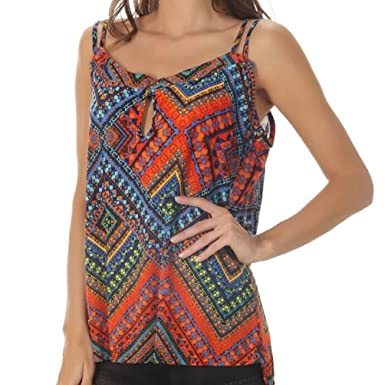 ef85588e54c391 Kobay Women Camisole Print Tank Tops, Ladies' Casual Sleeveless Backless  Vest Tops Blouse Summer: Amazon.co.uk: Clothing