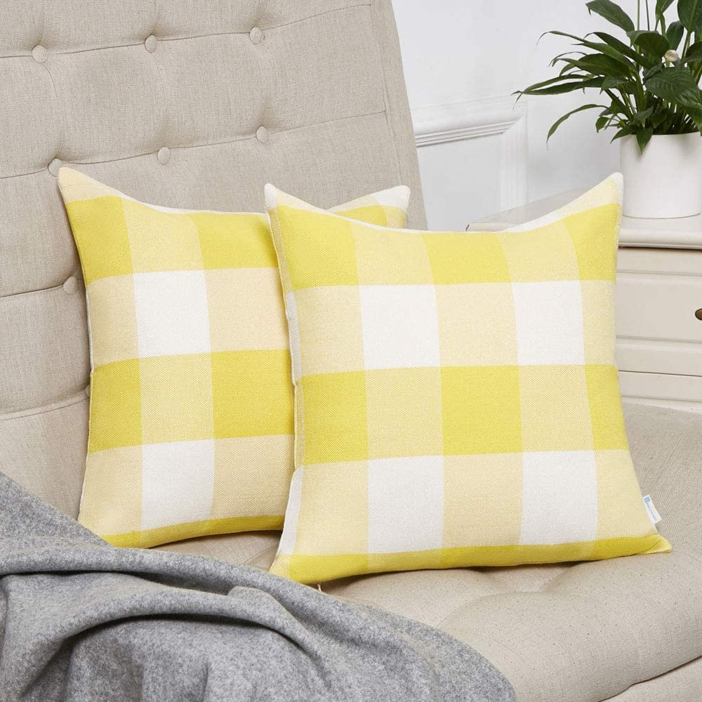 Anickal Set of 2 Yellow and White Buffalo Check Plaid Pillow Covers Farmhouse Rustic Decorative Square Throw Pillow Covers Cushion Case 18x18 Inch for Home Sofa Couch Decor