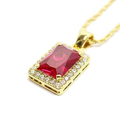 Amazon square ruby red gem stone pendant charm and gold rope square ruby red gem stone pendant charm and gold rope chain necklace aloadofball Images