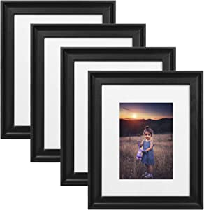 Upsimples Home 8x10 Picture Frame, Real Glass and Composite Wood for Wall or Tabletop Display, Display 5x7 Frame with Mat or 8x10 Without Mat, Hanging Hardware Included, Set of 4, Black