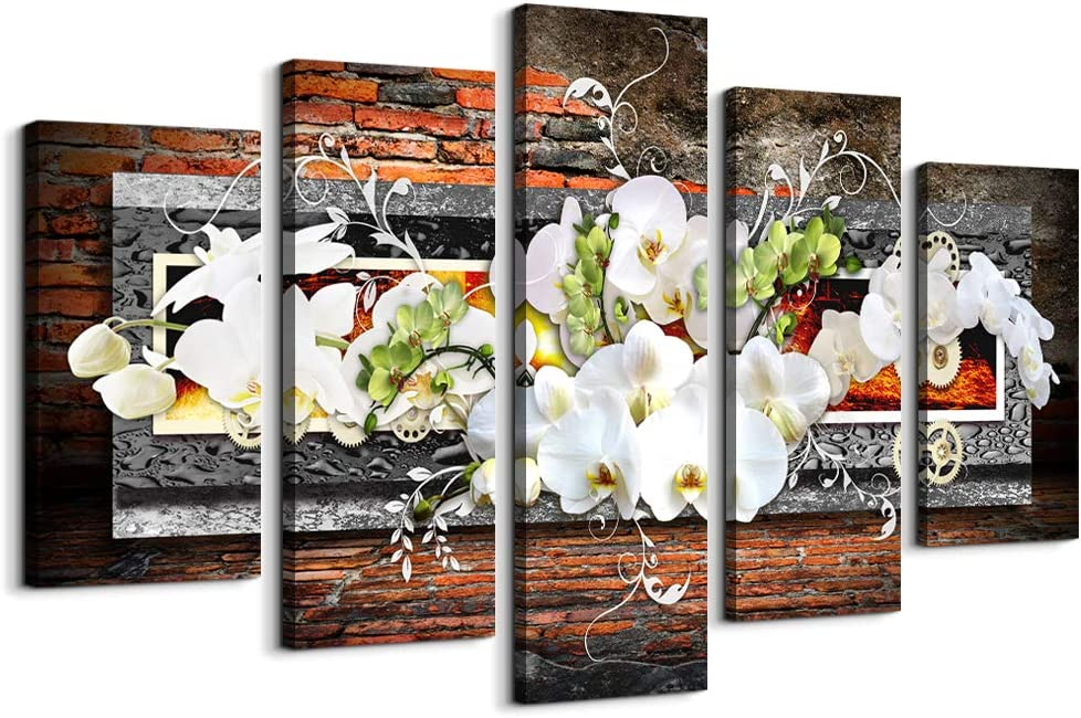5 Piece Canvas Wall art decor for living room Picture Butterfly Orchid Flowers Contemporary Retro Gray red Abstract prints Modern Home bedroom Wall Decorations Stretched and Ready to Hang artwork
