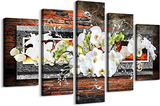 5 Piece Canvas Wall Art For Living Room Decorations Prints Orchid Picture Large Flower Canvas Painting Contemporary Abstract Modern Home Decor The Room Stretched And Framed Ready To Hang Artwork Posters