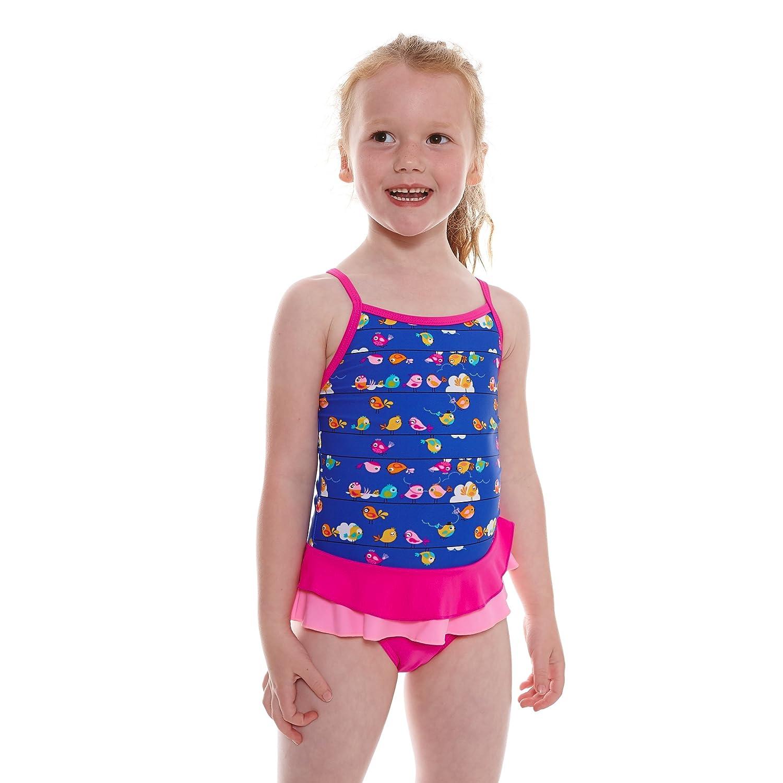 Zoggs Girl's Pretty Bird XBK Swimming Costume Multi-Colour/Pink 20-Inch/1-2 Years 509016020