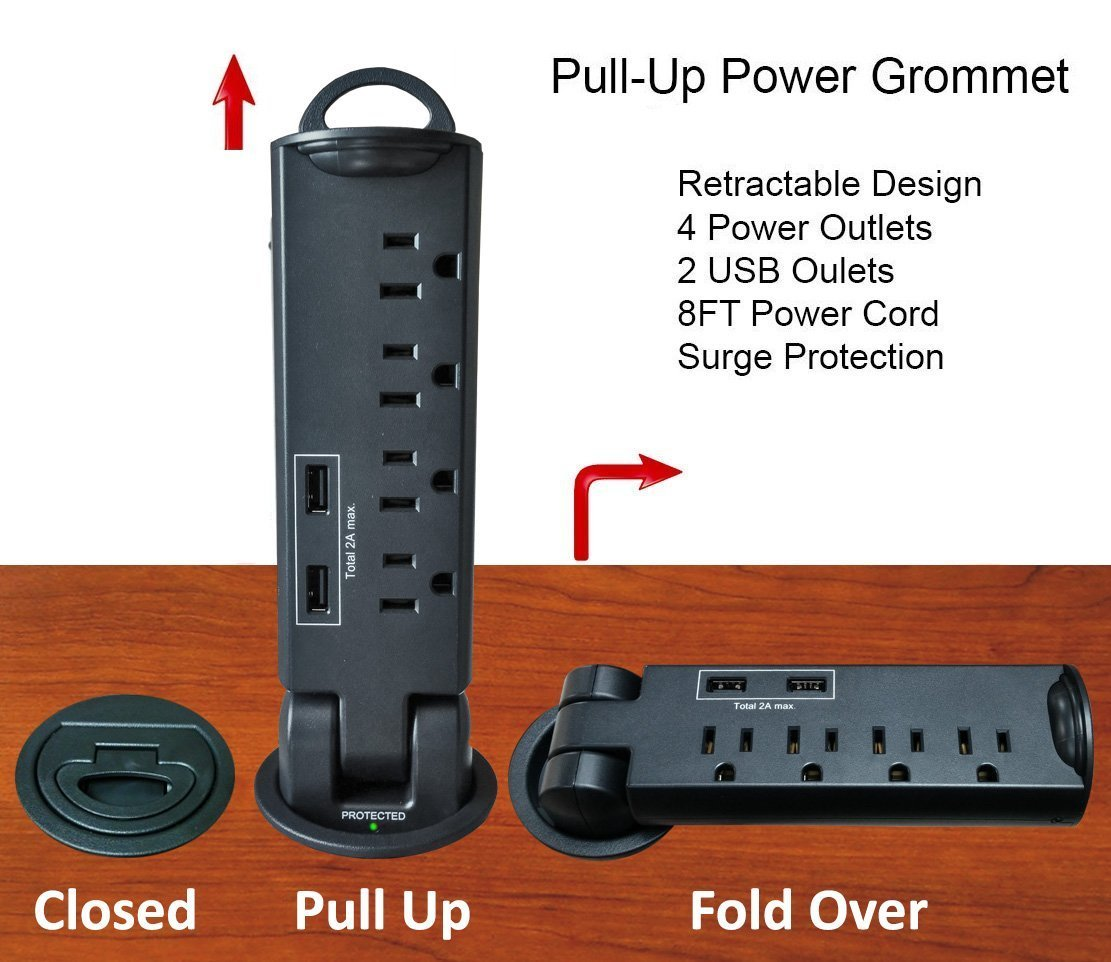 Desktop Pull-Up PowerTap Grommet with Surge Protector and USB - 3 Pack