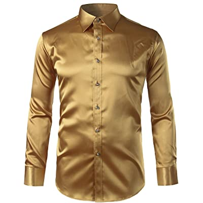 ZEROYAA Mens Regular Fit Long Sleeve Shiny Satin Silk Like Dance Prom Dress Shirt Tops at Men's Clothing store