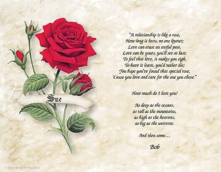 Personnalisé Cadeau De Poésie Relation Comme Une Rose Fond
