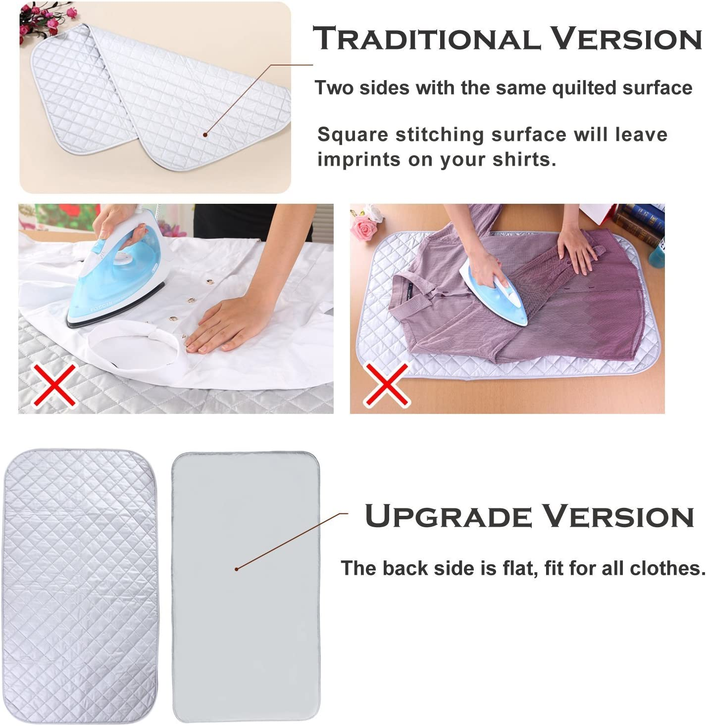 Garneck 6PCS Ironing Clothes Mat Ironing Board Mat Anti-Scald Ironing Mat Heat Insulated Ironing Clothes Pad Grey 5038cm