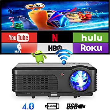 Bluetooth Wifi Proyector 4200 lúmenes, 1080p Proyector LED ...