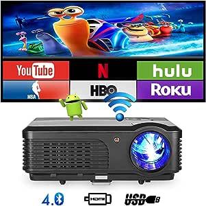 Bluetooth Wifi Proyector 4200 lúmenes, 1080p Proyector LED portátil, Proyector de cine en casa digital Puerto USB exterior HDMI TV Audio AV (Manual en inglés y en el Reino Unido): Amazon.es: Electrónica