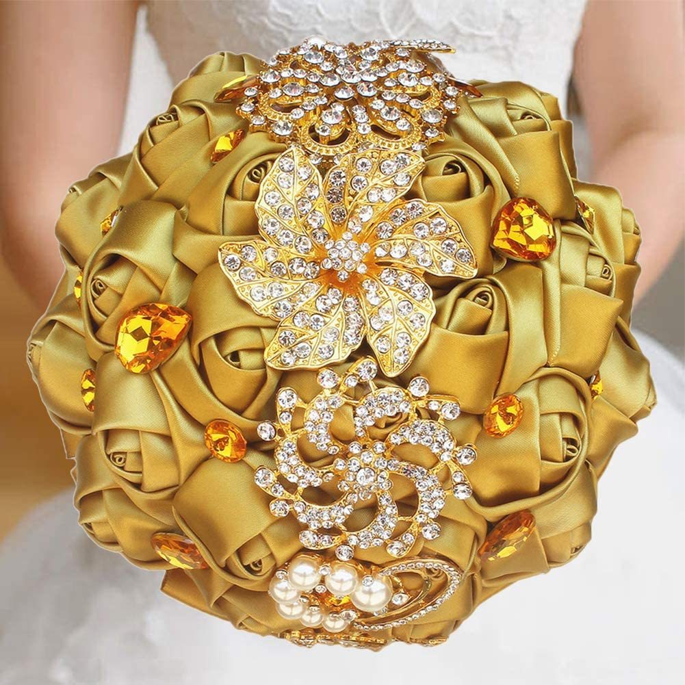 Gold Rhinestone Brooch Wedding Flowers Bridal Bouquets Golden Crystal Bride Holding Bouquet Bridesmaids Bouquet Satin Roses with Crystal Diamond Pearl Decor ( Dia:8.26inchH:10inch Gold Color W227Q)…