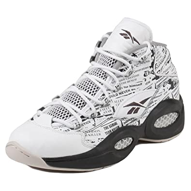 f3be22cd951 Reebok Mens Question Mid Misunderstood Newspaper White Coal Sandstone  Leather Size 8