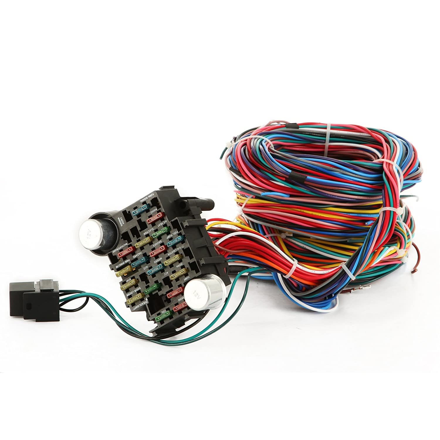 Mophorn 21 Circuit Wiring Harness Kit Long Wires Ez Ignition Switch Standard Color For Chevy Mopar Hotrods Ford Chrysler