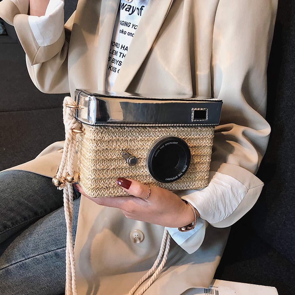Women Straw Crossbody Bag - Girl Fashion Camera Model Handwoven Rattan Messenger Purse with Shoulder Straps - Bohemian Daypack for Beach Daily School Party (Beige) by Leadmall Bag (Image #3)