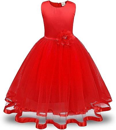 Lonshell – Vestido de fiesta estilo princesa para niña, rojo, 6T 140: Amazon.es: Hogar
