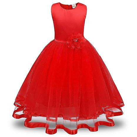 Lonshell – Vestido de fiesta estilo princesa para niña (Rojo, 4T)