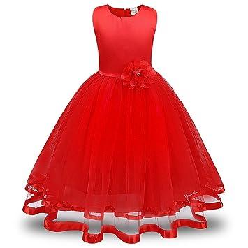 23cf7fa13 Lonshell - Vestido de fiesta estilo princesa para niña (Rojo