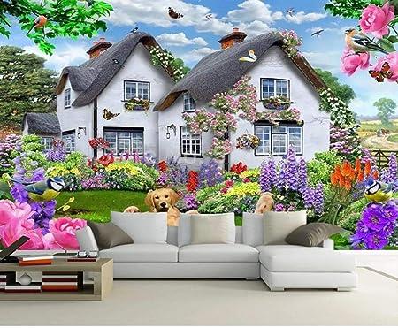 HDOUBR 3D Hermosa casa jardín Perro Naturaleza Paisaje Cartel decoración de la Pared Pintura niños habitación Dormitorio Fondo Foto Papel Pintado Mural, 300x210 cm (118.1 by 82.7 in): Amazon.es: Hogar