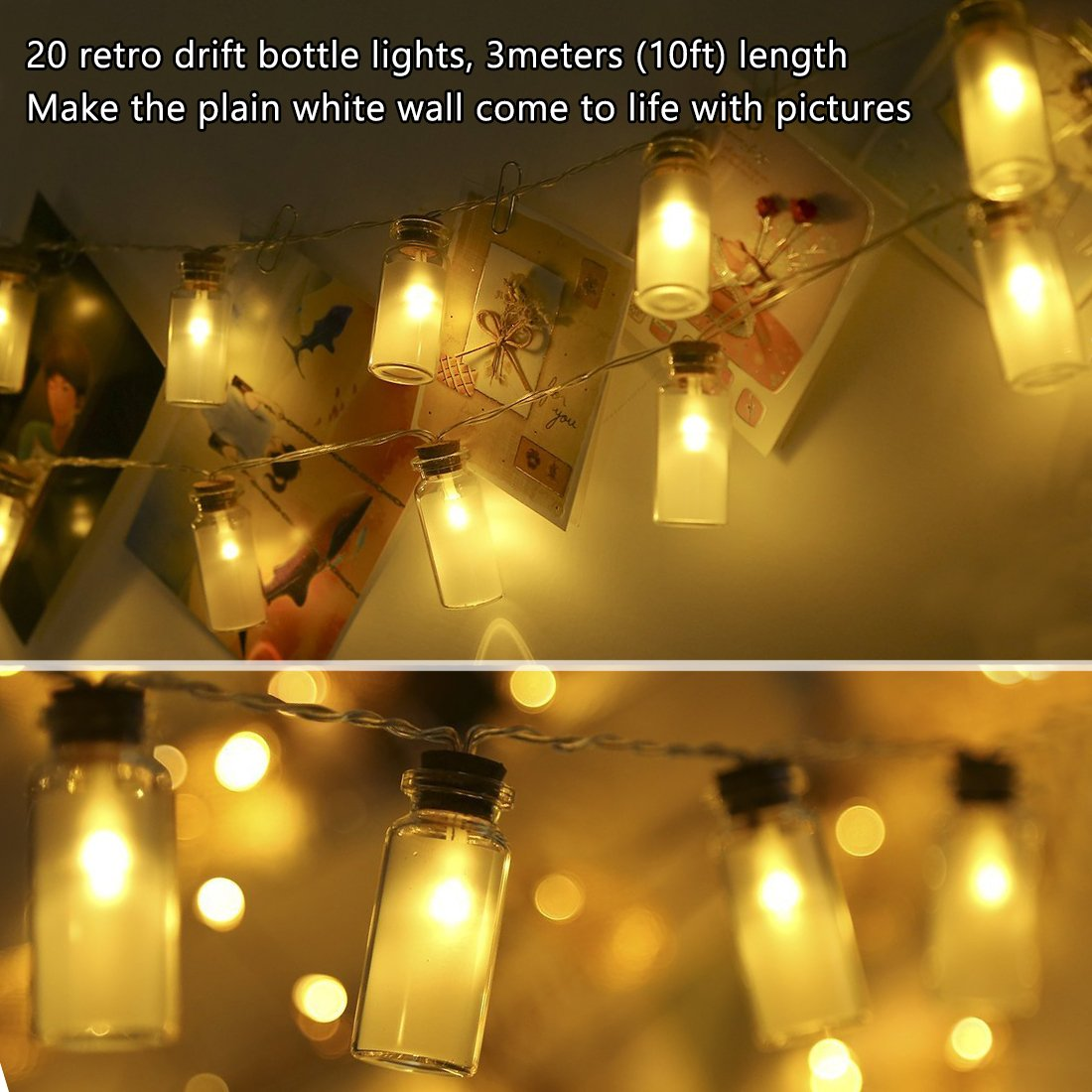 Amazon.com : LED Photo Clip String Lights (Include Wooden Clip and ...