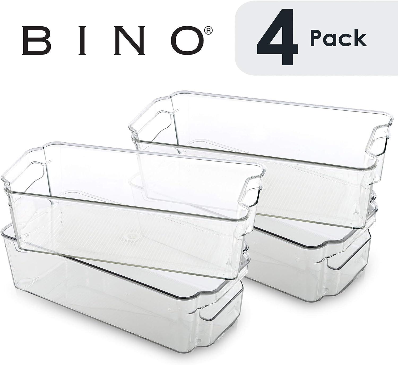 BINO Stackable Plastic Organizer Storage Bins, Medium - 4 Pack - Pantry Organization and Storage Refrigerator Organizer Bins Fridge Organizer Freezer Organizer Pantry Organizer Pantry Storage