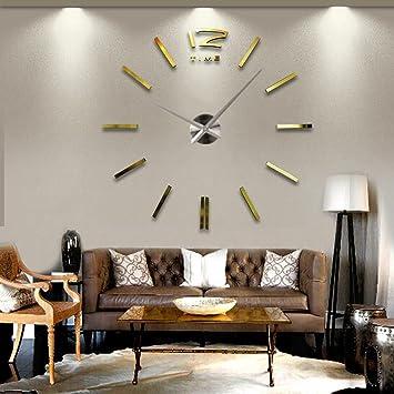 SSITG Design Wand Uhr Wohnzimmer Wanduhr Edelstahl Wandtattoo Deko Xxl 3D  Gold