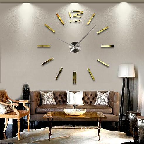 ssitg design wand uhr wohnzimmer wanduhr edelstahl wandtattoo deko xxl 3d gold - Wohnzimmer Design Wand