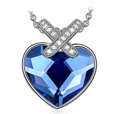 PAULINE MORGEN Sapphire Heart Necklaces For Women Wife 10th Girlfriend Swarovski Necklace Mom