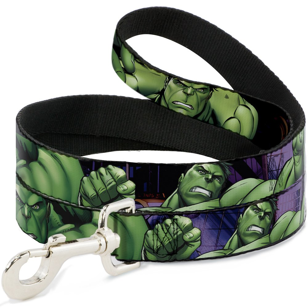 Buckle Down Dog Leash Marvel Hulk Close Up Poses 6 Feet Long 0.5 Inch Wide
