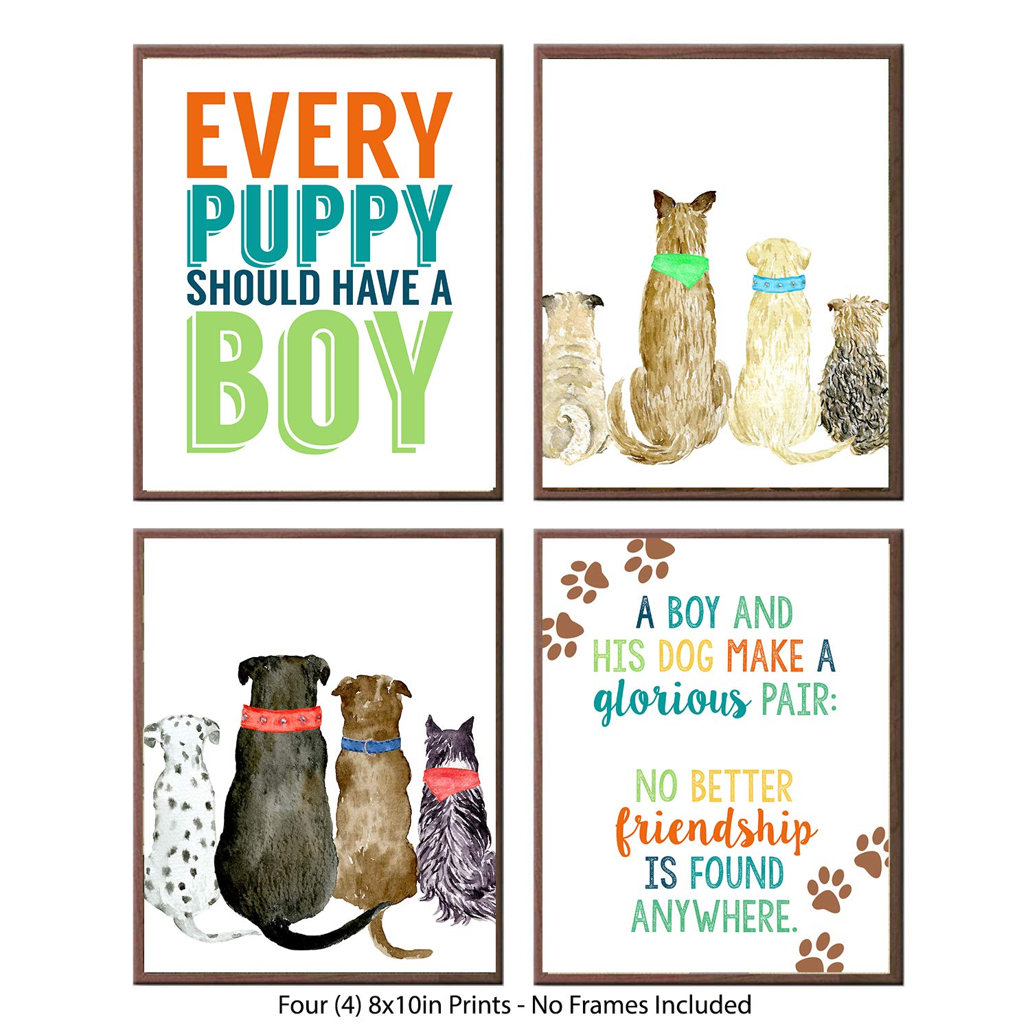 I'm Not Alone Said The Boy I Have A Puppy - Vintage Watercolor Retro Themed Room Nursery Wall Print Decoration Art Sets 8x10 Unframed (Every Puppy Should Have A Boy)