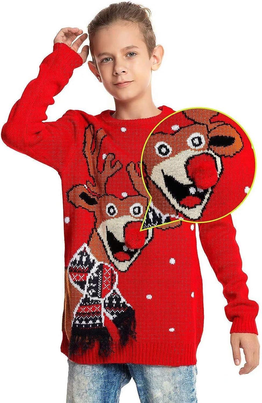 U LOOK UGLY TODAY Kinder Weihnachtspullover Unisex Lustig Weihnachtspullis Strickjacke Pullover Pulli Sweatshirt Sweater Jumper f/ür Jungen und M/ädchen