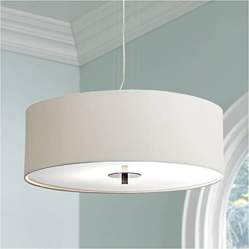 Brushed Nickel Pendant Chandelier 24 Wide Modern White Canvas 4-Light Fixture