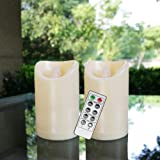 Flameless Outdoor Waterproof LED Pillar Candle with Remote Timer Battery Operated Flickering Resin Candle Light for Halloween
