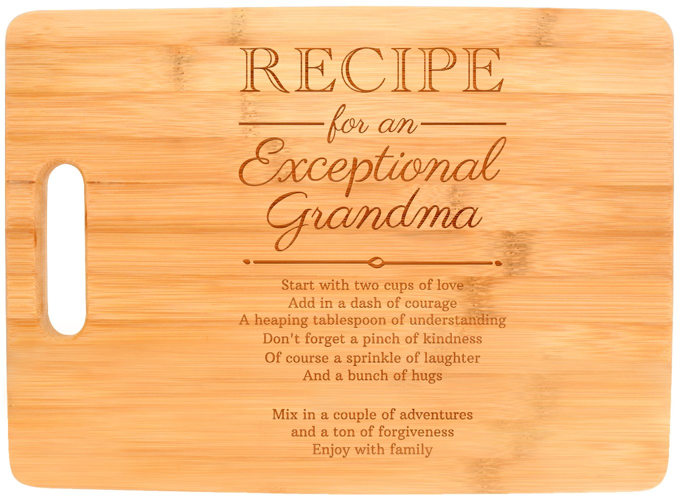 Mothers Day Gifts for Grandma Recipe for an Exceptional Grandma Mother Day Gifts Birthday Gifts for Grandma Unique Gifts for Grandma Big Rectangle Bamboo Cutting Board