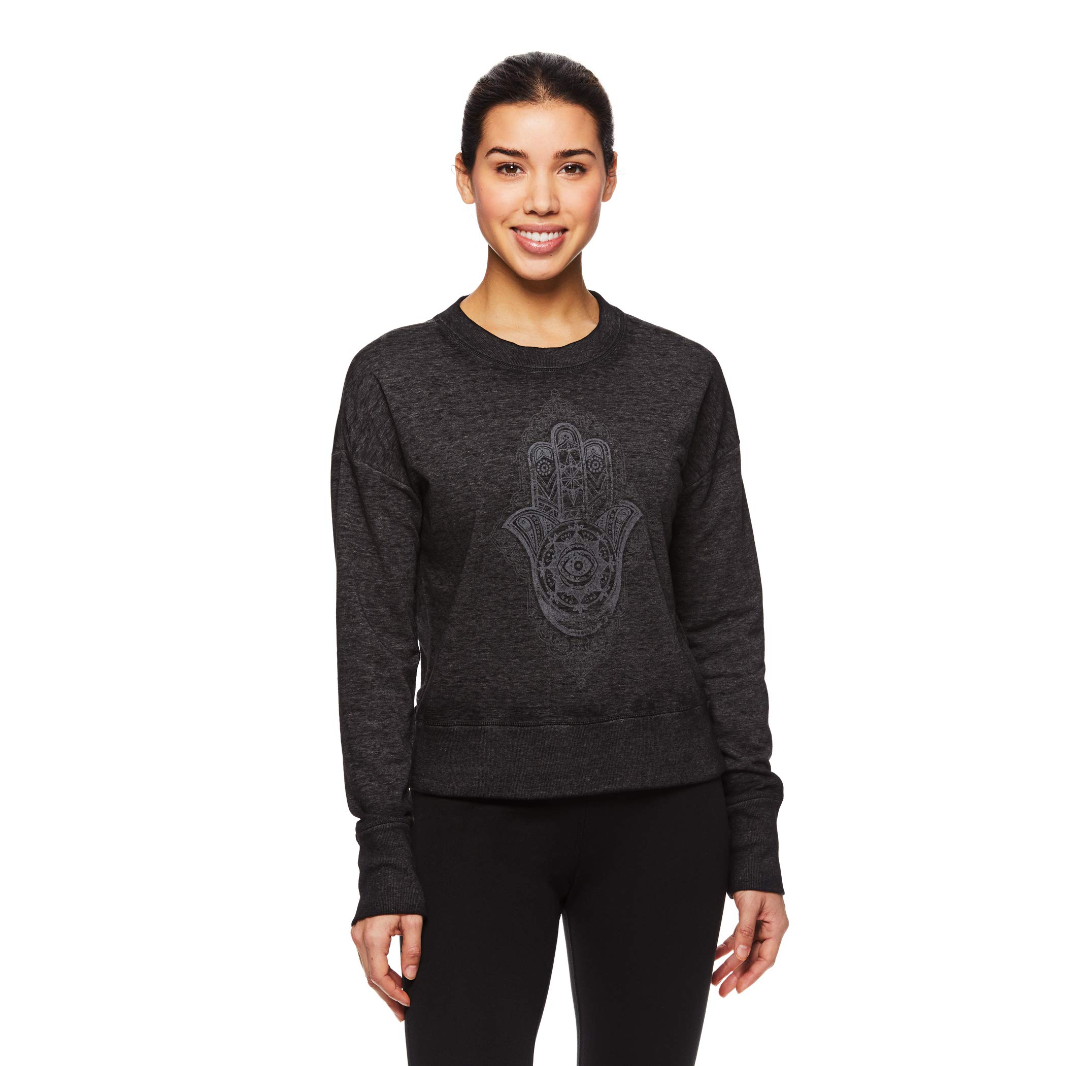 Gaiam Women's Pullover Fleece Yoga Sweatshirt - Long Sleeve Graphic Activewear Sweater - Black (Tap Shoe), Large by Gaiam